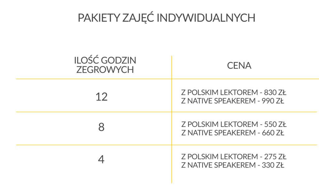 Zajęcia indywidualne z angielskiego Wrocław cennik